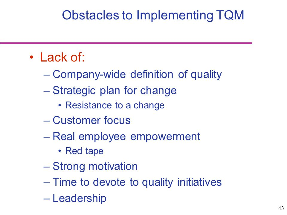 43 Lack of: –Company-wide definition of quality –Strategic plan for change Resistance to a change –Customer focus –Real employee empowerment Red tape