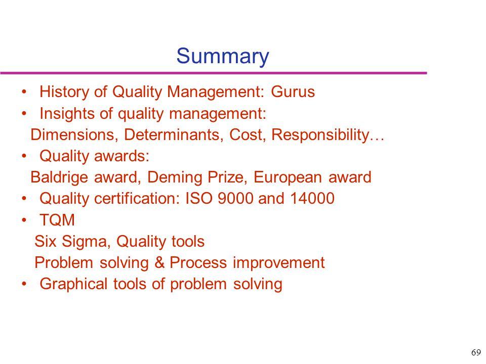 69 Summary History of Quality Management: Gurus Insights of quality management: Dimensions, Determinants, Cost, Responsibility … Quality awards: Baldr