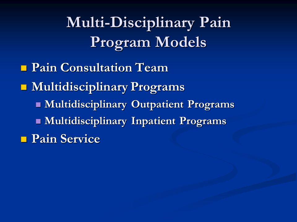 Multi-Disciplinary Pain Program Models Pain Consultation Team Pain Consultation Team Multidisciplinary Programs Multidisciplinary Programs Multidisciplinary Outpatient Programs Multidisciplinary Outpatient Programs Multidisciplinary Inpatient Programs Multidisciplinary Inpatient Programs Pain Service Pain Service
