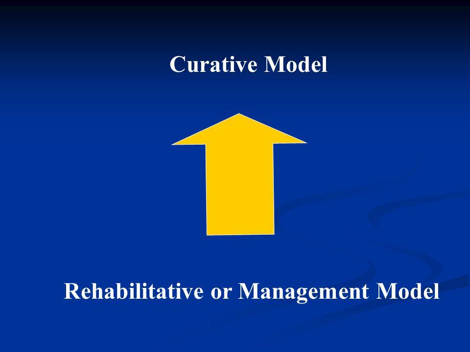 Rehabilitative or Management Model Curative Model