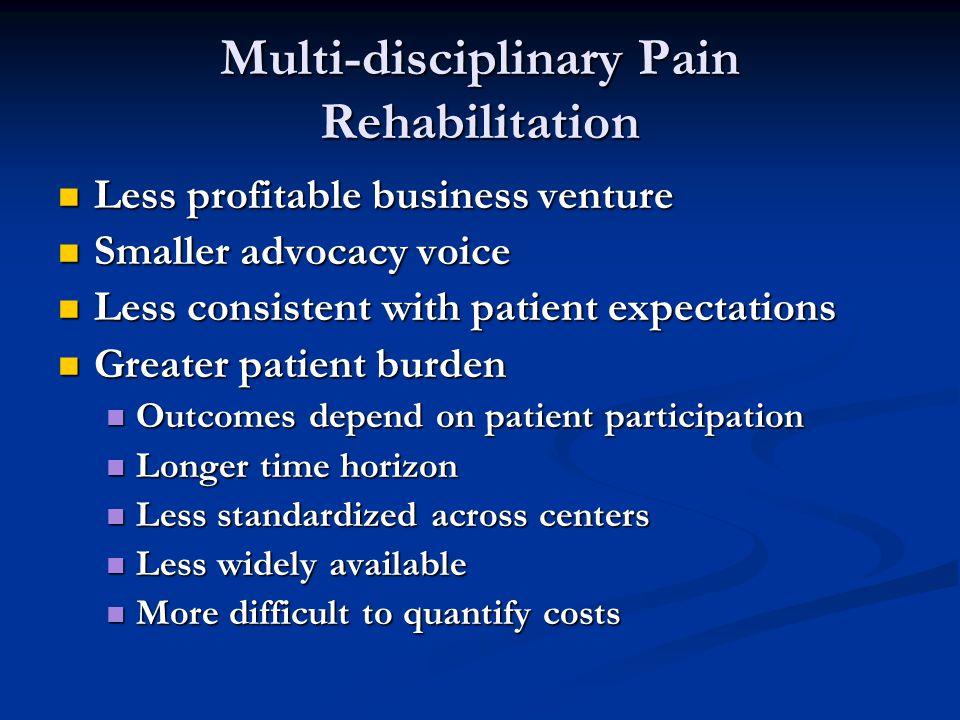 Multi-disciplinary Pain Rehabilitation Less profitable business venture Less profitable business venture Smaller advocacy voice Smaller advocacy voice