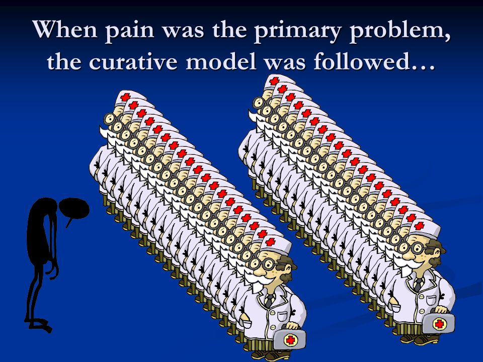 When pain was the primary problem, the curative model was followed…