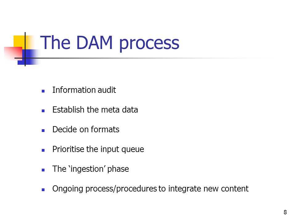 8 The DAM process Information audit Establish the meta data Decide on formats Prioritise the input queue The ingestion phase Ongoing process/procedure