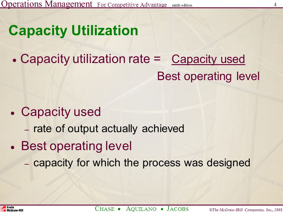 Operations Management For Competitive Advantage © The McGraw-Hill Companies, Inc., 2001 C HASE A QUILANO J ACOBS ninth edition 4 Capacity Utilization Capacity used – rate of output actually achieved Best operating level – capacity for which the process was designed Capacity utilization rate = Capacity used Best operating level