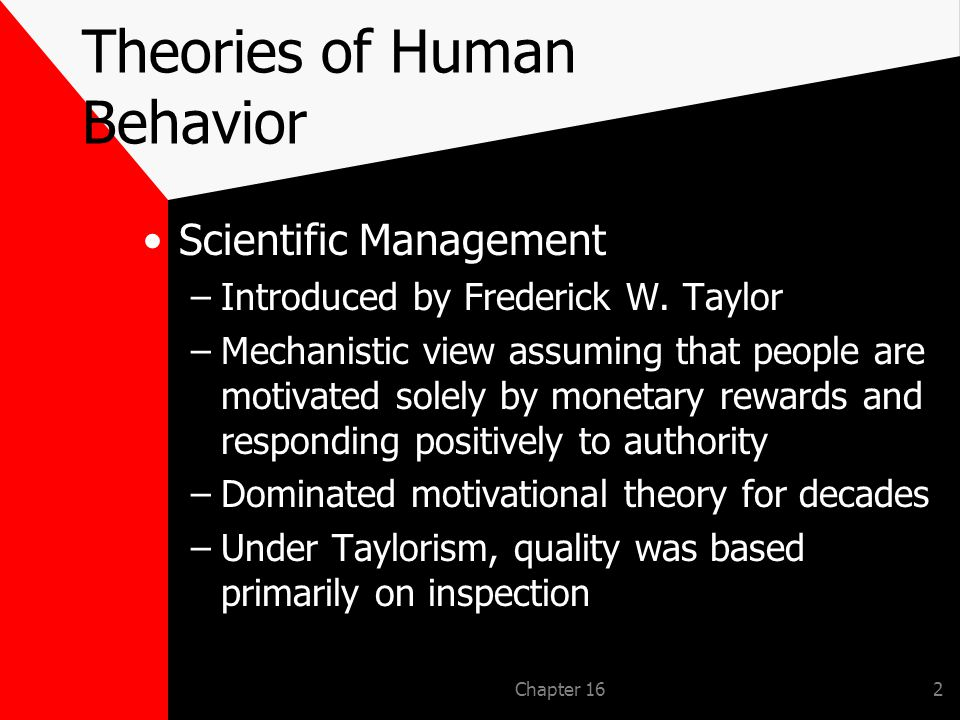 Chapter 162 Theories of Human Behavior Scientific Management –Introduced by Frederick W.