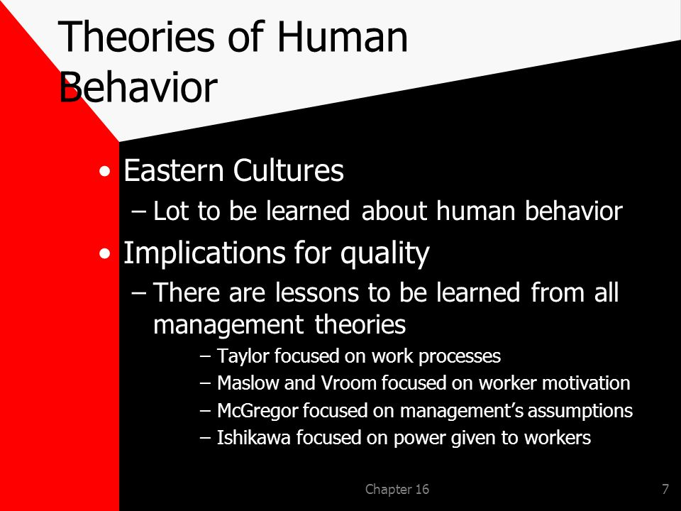 Chapter 167 Theories of Human Behavior Eastern Cultures –Lot to be learned about human behavior Implications for quality –There are lessons to be learned from all management theories –Taylor focused on work processes –Maslow and Vroom focused on worker motivation –McGregor focused on managements assumptions –Ishikawa focused on power given to workers