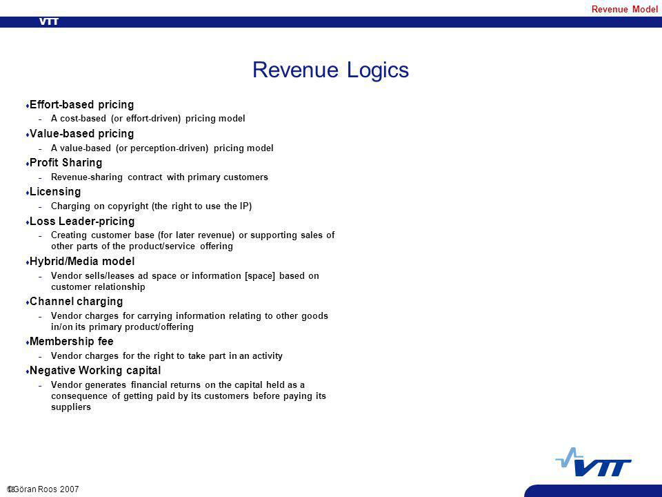 VTT 18 ©Göran Roos 2007 Revenue Logics t Effort-based pricing – A cost-based (or effort-driven) pricing model t Value-based pricing – A value-based (or perception-driven) pricing model t Profit Sharing – Revenue-sharing contract with primary customers t Licensing – Charging on copyright (the right to use the IP) t Loss Leader-pricing – Creating customer base (for later revenue) or supporting sales of other parts of the product/service offering t Hybrid/Media model – Vendor sells/leases ad space or information [space] based on customer relationship t Channel charging – Vendor charges for carrying information relating to other goods in/on its primary product/offering t Membership fee – Vendor charges for the right to take part in an activity t Negative Working capital – Vendor generates financial returns on the capital held as a consequence of getting paid by its customers before paying its suppliers Revenue Model