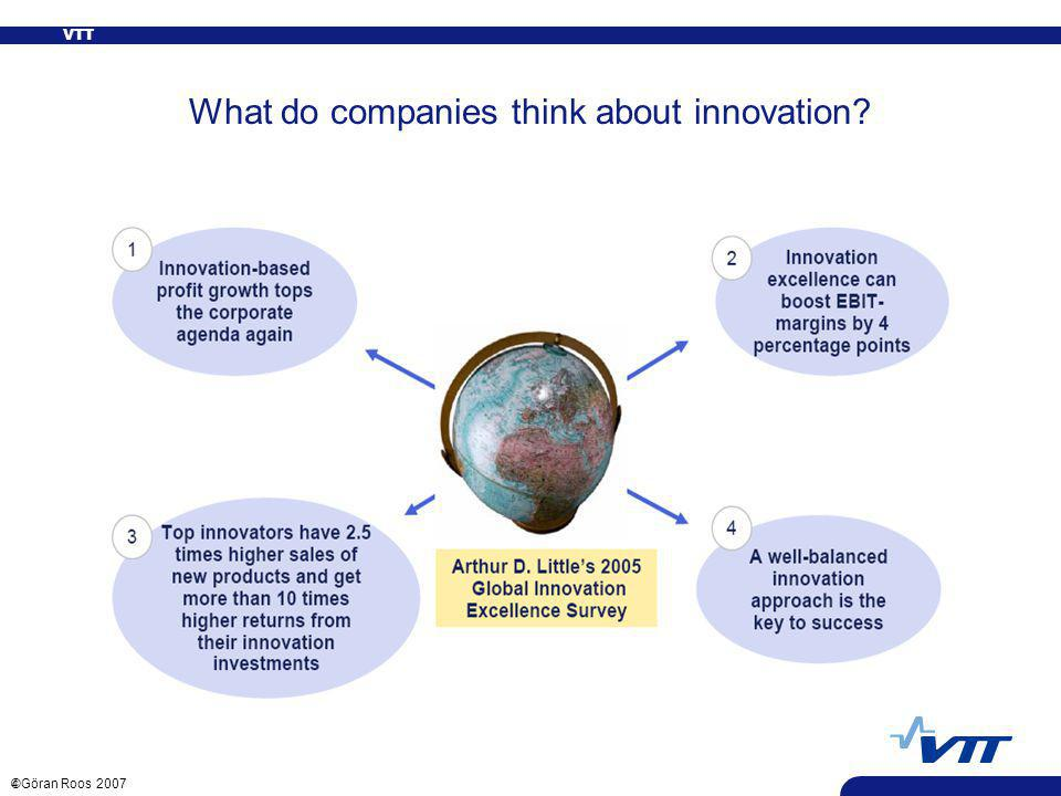 VTT 4 ©Göran Roos 2007 What do companies think about innovation