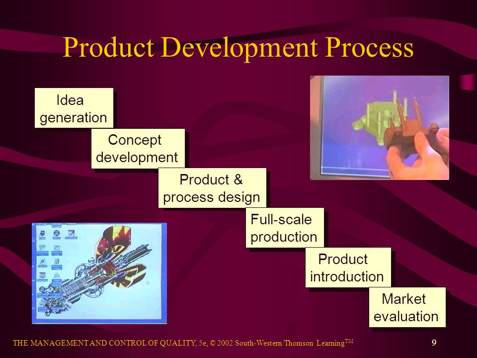 THE MANAGEMENT AND CONTROL OF QUALITY, 5e, © 2002 South-Western/Thomson Learning TM 30 Breakthrough Improvement Discontinuous change resulting from innovative and creative thinking Benchmarking – the search of industry best practices that lead to superior performance –Competitive benchmarking –Process benchmarking –Strategic benchmarking Reengineering – radical redesign of processes