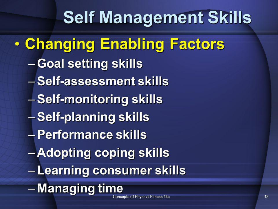 Concepts of Physical Fitness 14e12 Self Management Skills Changing Enabling FactorsChanging Enabling Factors –Goal setting skills –Self-assessment ski