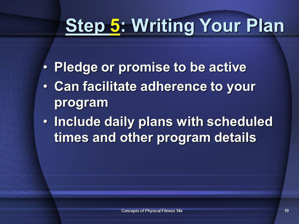 Concepts of Physical Fitness 14e19 Step 5: Writing Your Plan Pledge or promise to be activePledge or promise to be active Can facilitate adherence to your programCan facilitate adherence to your program Include daily plans with scheduled times and other program detailsInclude daily plans with scheduled times and other program details