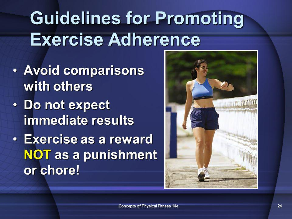 Concepts of Physical Fitness 14e24 Guidelines for Promoting Exercise Adherence Avoid comparisons with othersAvoid comparisons with others Do not expect immediate resultsDo not expect immediate results Exercise as a reward NOT as a punishment or chore!Exercise as a reward NOT as a punishment or chore!
