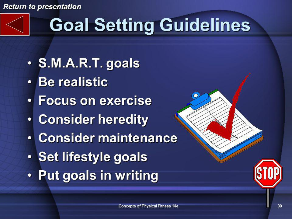 Concepts of Physical Fitness 14e30 Goal Setting Guidelines S.M.A.R.T.