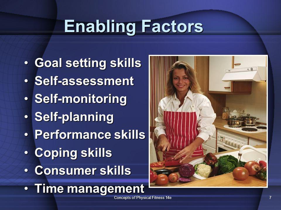 Concepts of Physical Fitness 14e7 Enabling Factors Goal setting skillsGoal setting skills Self-assessmentSelf-assessment Self-monitoringSelf-monitorin