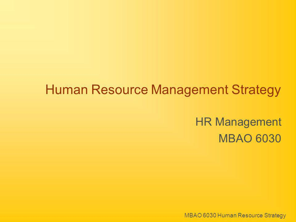 MBAO 6030 Human Resource Strategy Human Resource Management Strategy HR Management MBAO 6030