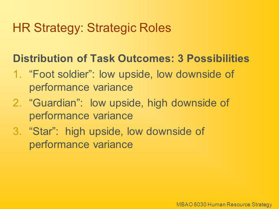 MBAO 6030 Human Resource Strategy HR Strategy: Strategic Roles Distribution of Task Outcomes: 3 Possibilities 1.Foot soldier: low upside, low downside