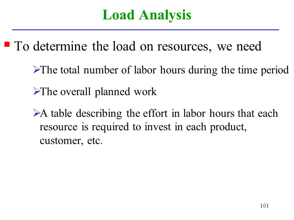 101 Load Analysis To determine the load on resources, we need The total number of labor hours during the time period The overall planned work A table