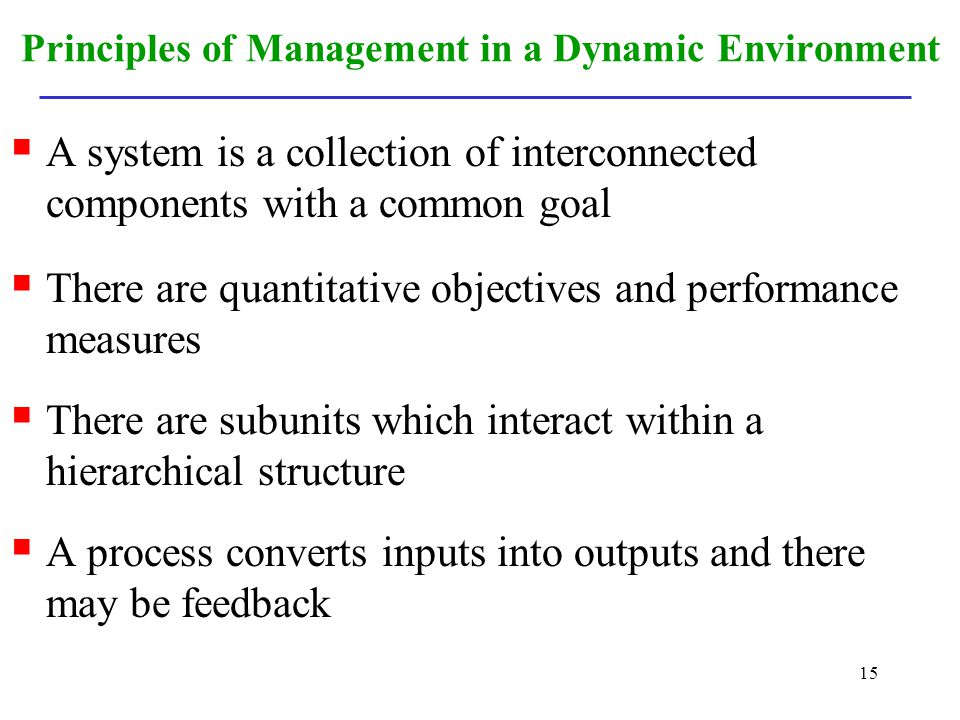 15 Principles of Management in a Dynamic Environment A system is a collection of interconnected components with a common goal There are quantitative o