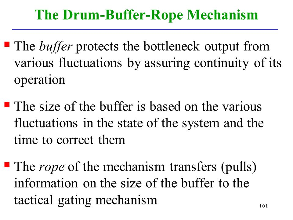 161 The Drum-Buffer-Rope Mechanism The buffer protects the bottleneck output from various fluctuations by assuring continuity of its operation The siz