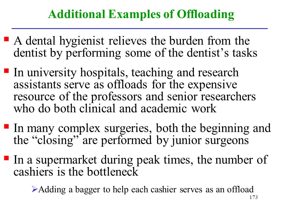 173 Additional Examples of Offloading A dental hygienist relieves the burden from the dentist by performing some of the dentists tasks In university h