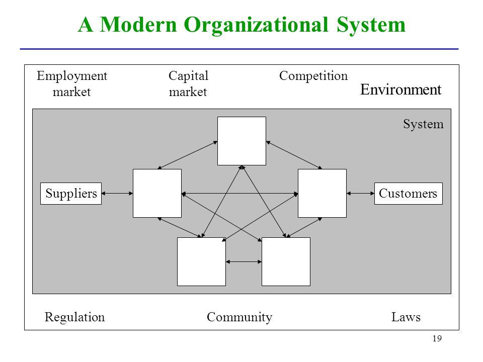 19 A Modern Organizational System Employment market Environment CompetitionCapital market System SuppliersCustomers RegulationLawsCommunity