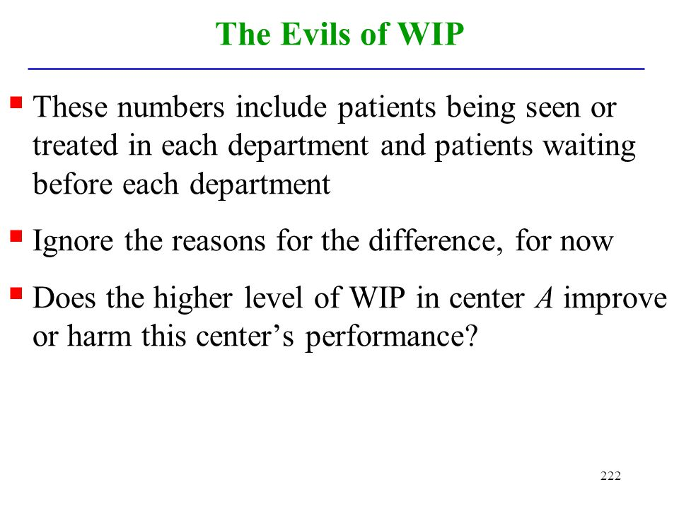 222 The Evils of WIP These numbers include patients being seen or treated in each department and patients waiting before each department Ignore the re