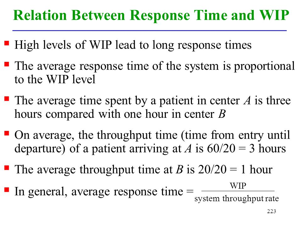 223 Relation Between Response Time and WIP High levels of WIP lead to long response times The average response time of the system is proportional to t