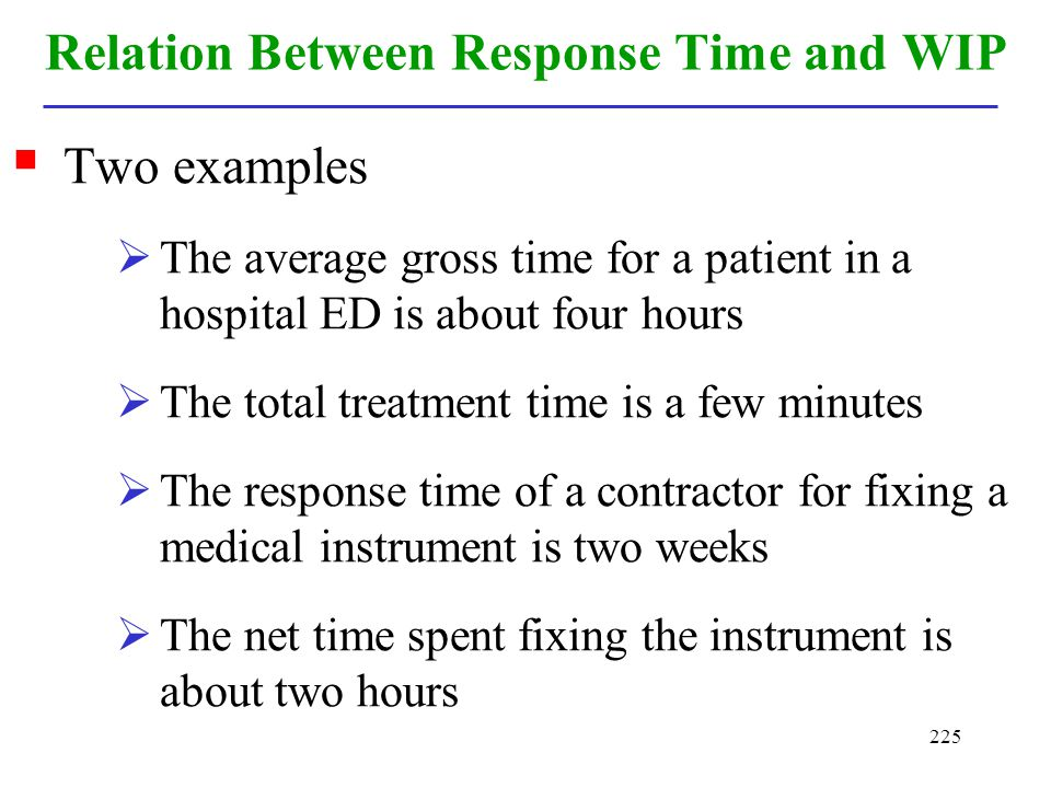 225 Relation Between Response Time and WIP Two examples The average gross time for a patient in a hospital ED is about four hours The total treatment