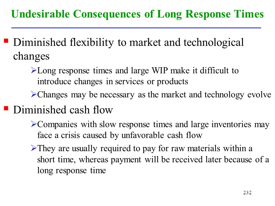 232 Undesirable Consequences of Long Response Times Diminished flexibility to market and technological changes Long response times and large WIP make
