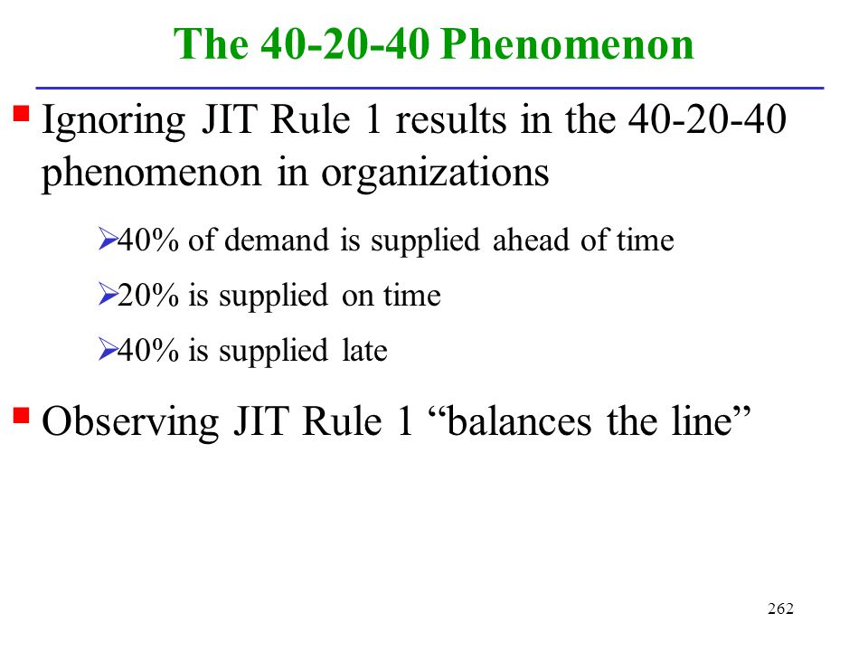 262 The 40-20-40 Phenomenon Ignoring JIT Rule 1 results in the 40-20-40 phenomenon in organizations 40% of demand is supplied ahead of time 20% is sup