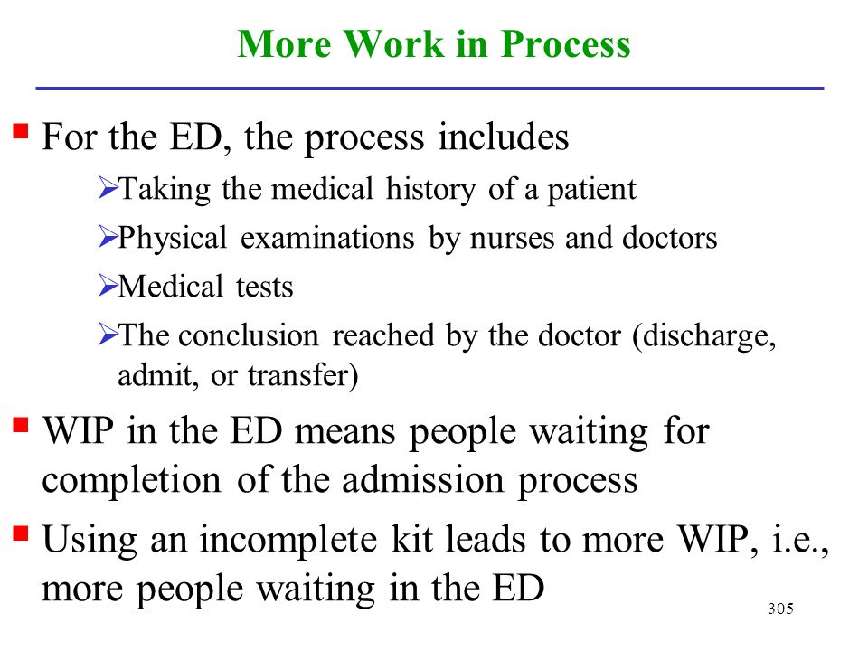 305 More Work in Process For the ED, the process includes Taking the medical history of a patient Physical examinations by nurses and doctors Medical
