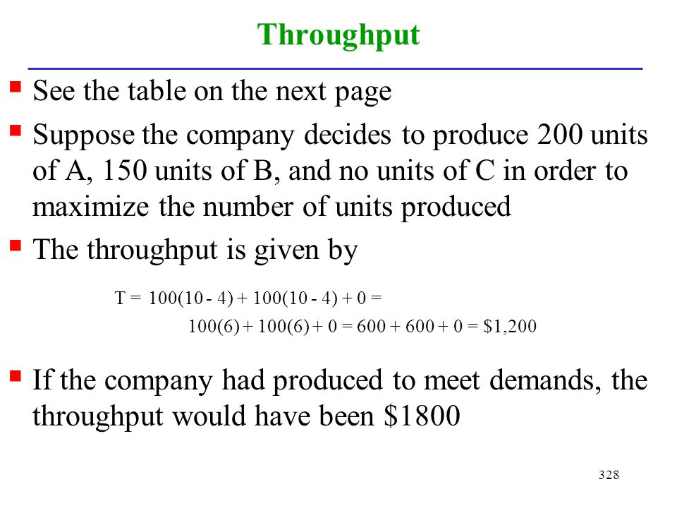 328 Throughput See the table on the next page Suppose the company decides to produce 200 units of A, 150 units of B, and no units of C in order to max