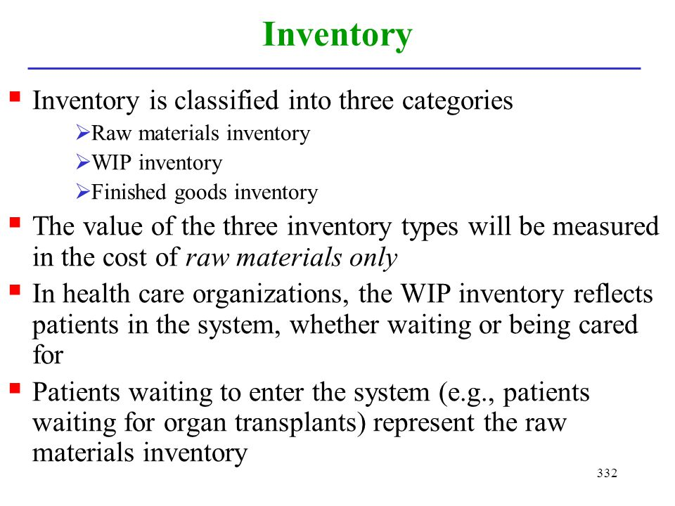 332 Inventory Inventory is classified into three categories Raw materials inventory WIP inventory Finished goods inventory The value of the three inve