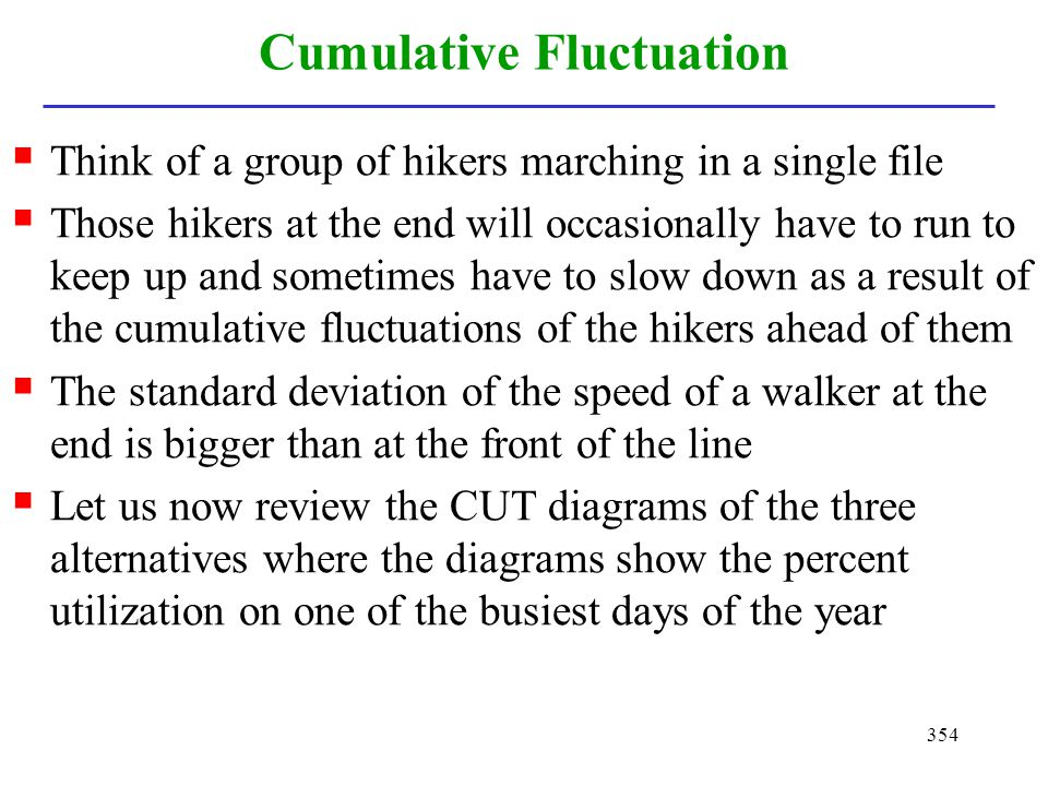 354 Cumulative Fluctuation Think of a group of hikers marching in a single file Those hikers at the end will occasionally have to run to keep up and s