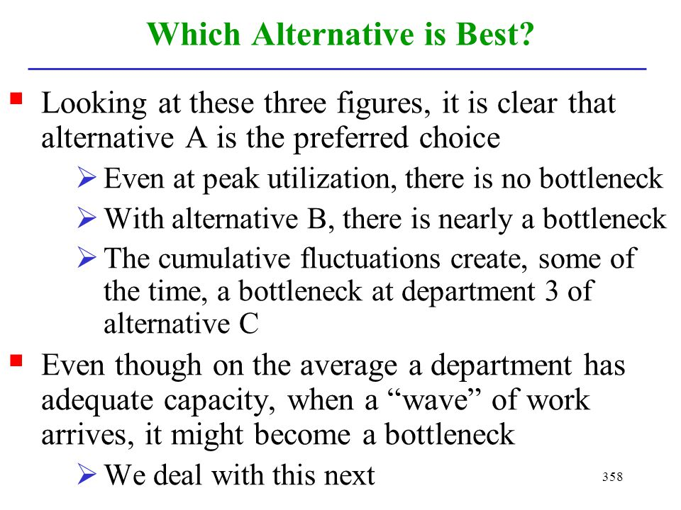 358 Which Alternative is Best? Looking at these three figures, it is clear that alternative A is the preferred choice Even at peak utilization, there