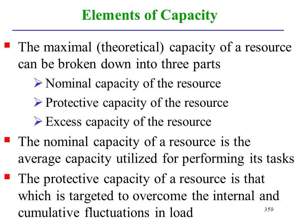 359 Elements of Capacity The maximal (theoretical) capacity of a resource can be broken down into three parts Nominal capacity of the resource Protect