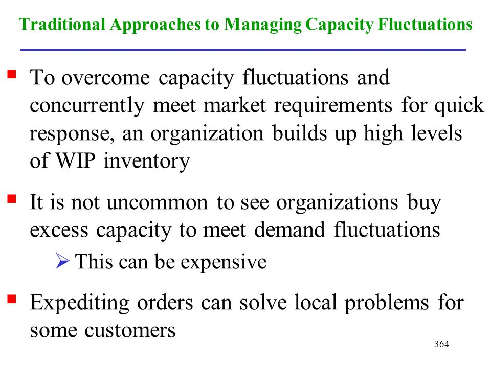 364 Traditional Approaches to Managing Capacity Fluctuations To overcome capacity fluctuations and concurrently meet market requirements for quick res