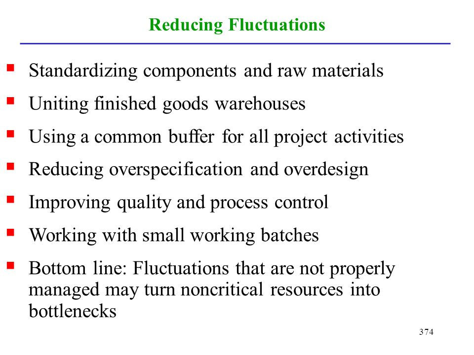 374 Reducing Fluctuations Standardizing components and raw materials Uniting finished goods warehouses Using a common buffer for all project activitie