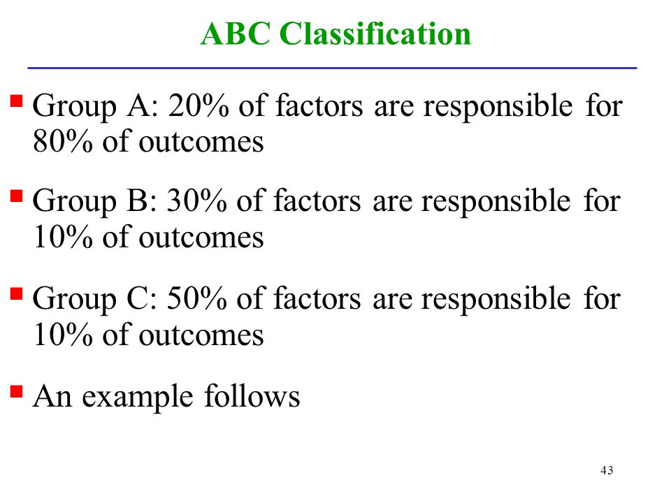 43 ABC Classification Group A: 20% of factors are responsible for 80% of outcomes Group B: 30% of factors are responsible for 10% of outcomes Group C: