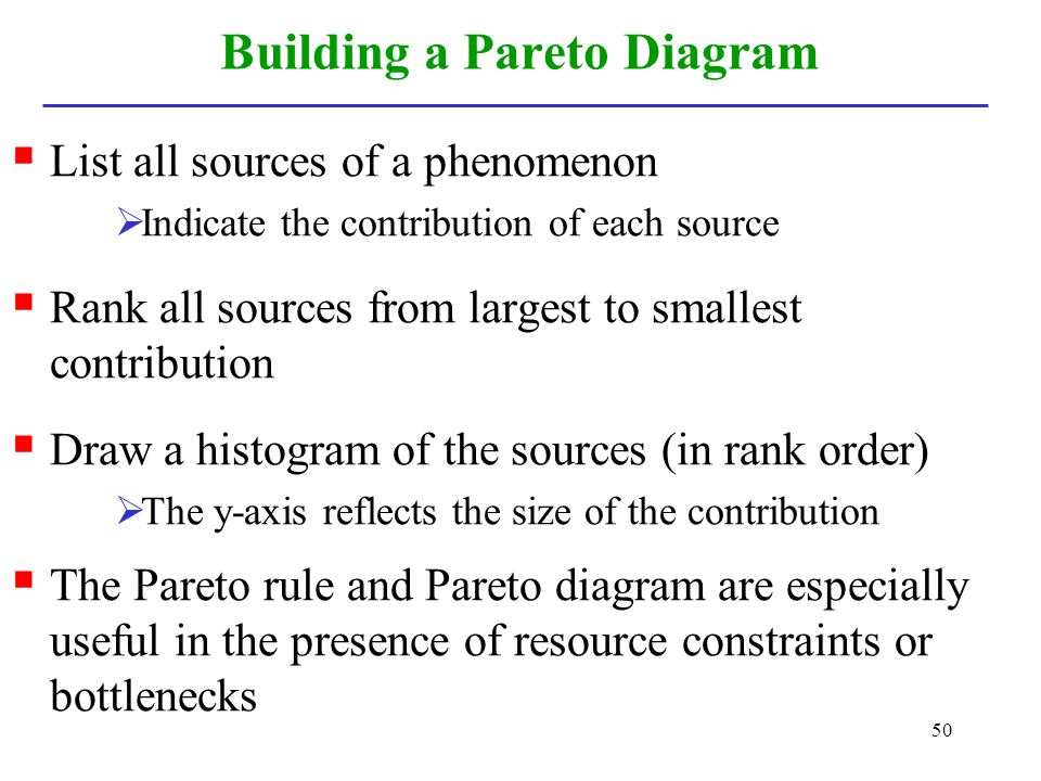 50 Building a Pareto Diagram List all sources of a phenomenon Indicate the contribution of each source Rank all sources from largest to smallest contr