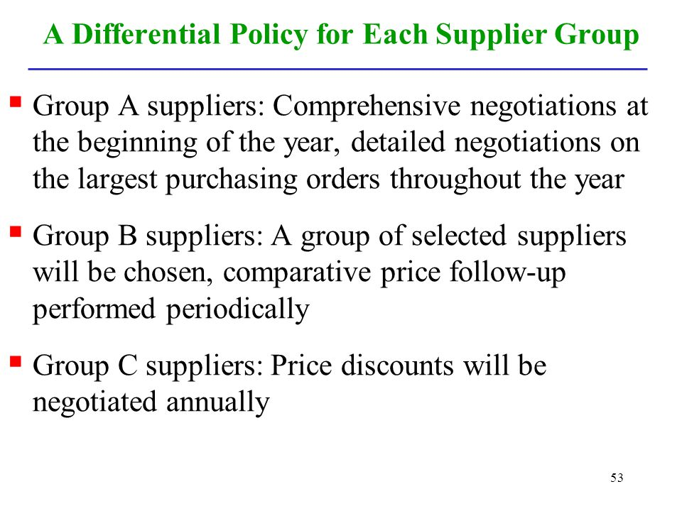 53 A Differential Policy for Each Supplier Group Group A suppliers: Comprehensive negotiations at the beginning of the year, detailed negotiations on