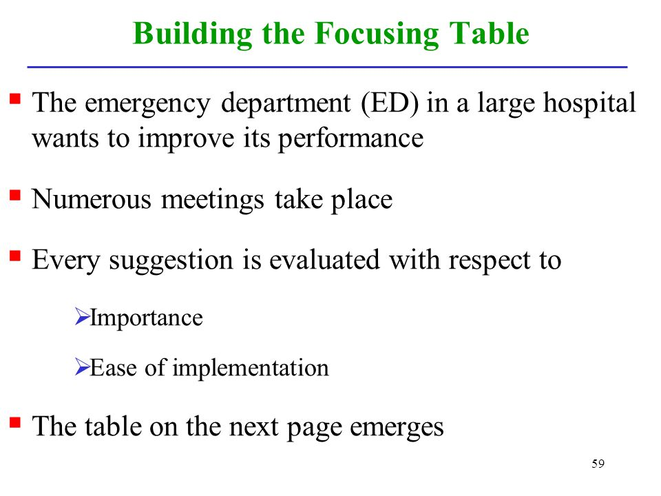 59 Building the Focusing Table The emergency department (ED) in a large hospital wants to improve its performance Numerous meetings take place Every s