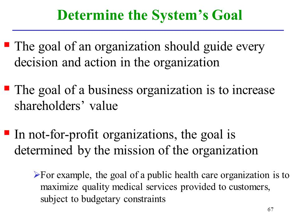 67 Determine the Systems Goal The goal of an organization should guide every decision and action in the organization The goal of a business organizati