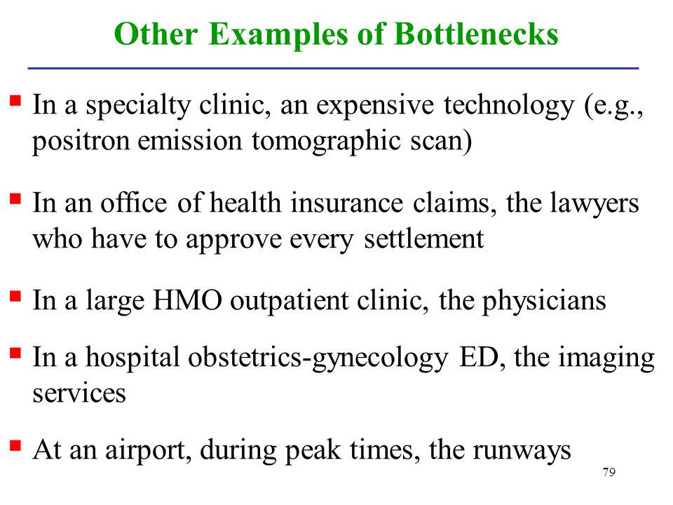 79 Other Examples of Bottlenecks In a specialty clinic, an expensive technology (e.g., positron emission tomographic scan) In an office of health insu