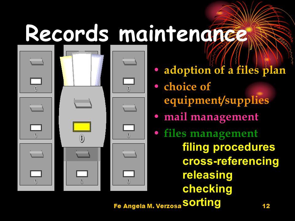 Fe Angela M. Verzosa12 Records maintenance adoption of a files plan choice of equipment/supplies mail management files management filing procedures cr