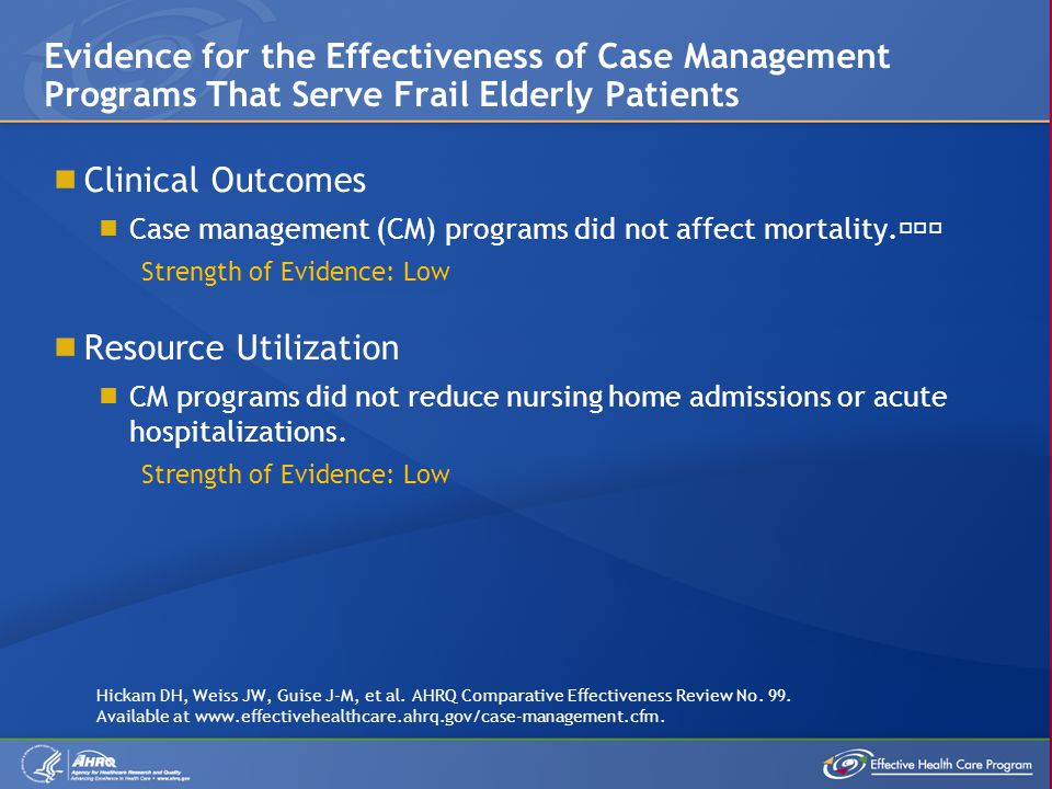 Clinical Outcomes Case management (CM) programs did not affect mortality.˜˜˜ Strength of Evidence: Low Resource Utilization CM programs did not reduce