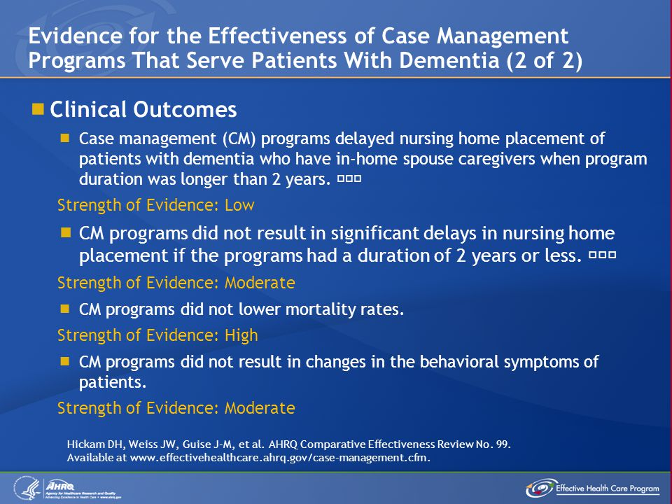 Clinical Outcomes Case management (CM) programs delayed nursing home placement of patients with dementia who have in-home spouse caregivers when progr