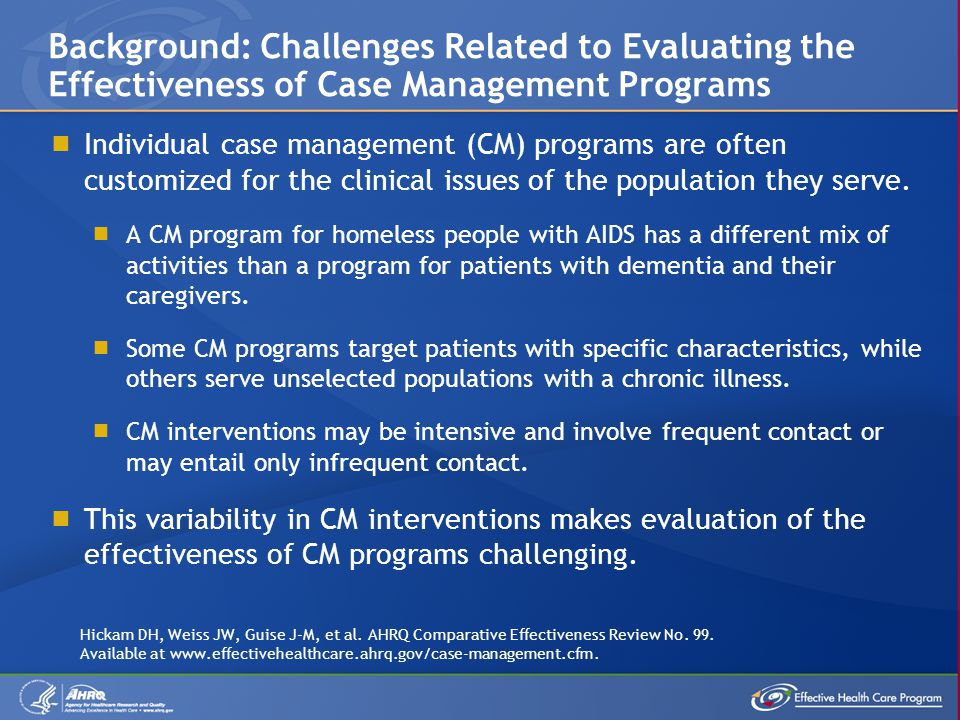 Individual case management (CM) programs are often customized for the clinical issues of the population they serve. A CM program for homeless people w