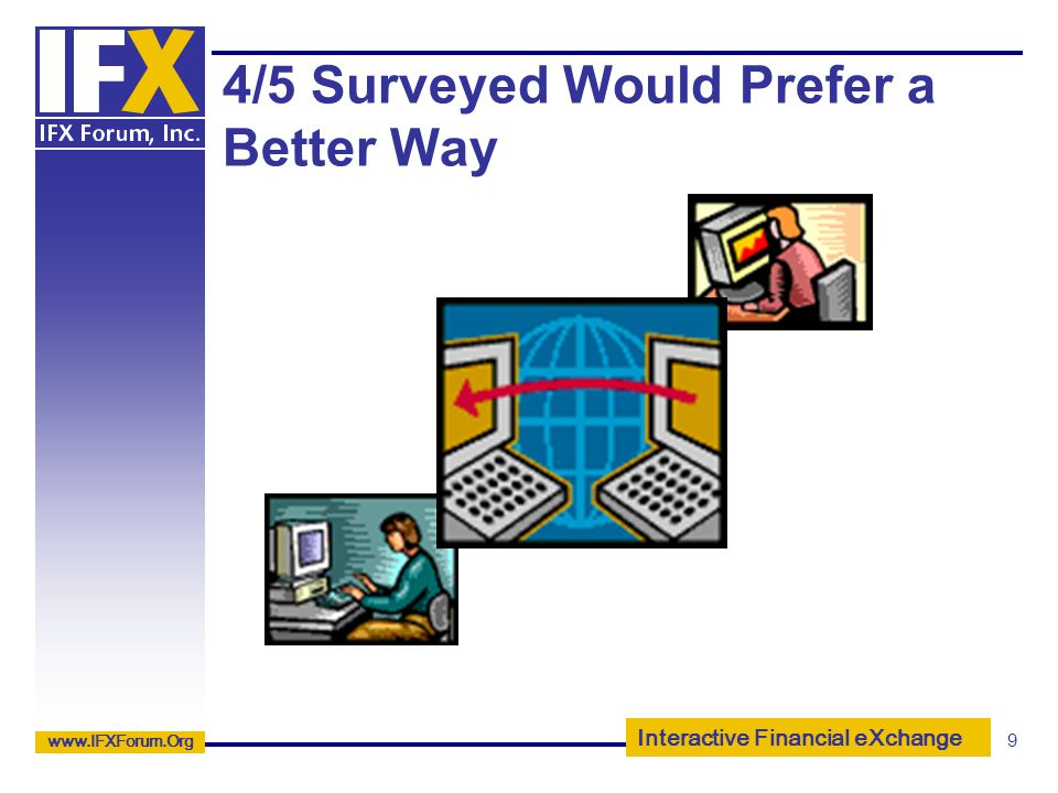 Interactive Financial eXchange www.IFXForum.Org 9 4/5 Surveyed Would Prefer a Better Way