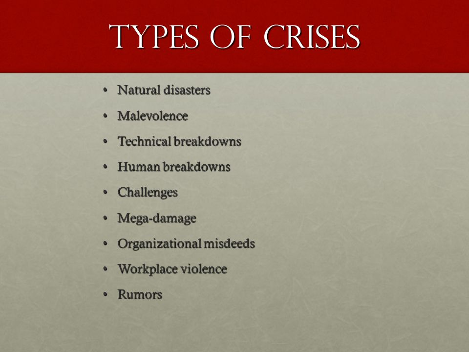 Types of Crises Natural disastersNatural disasters MalevolenceMalevolence Technical breakdownsTechnical breakdowns Human breakdownsHuman breakdowns Ch